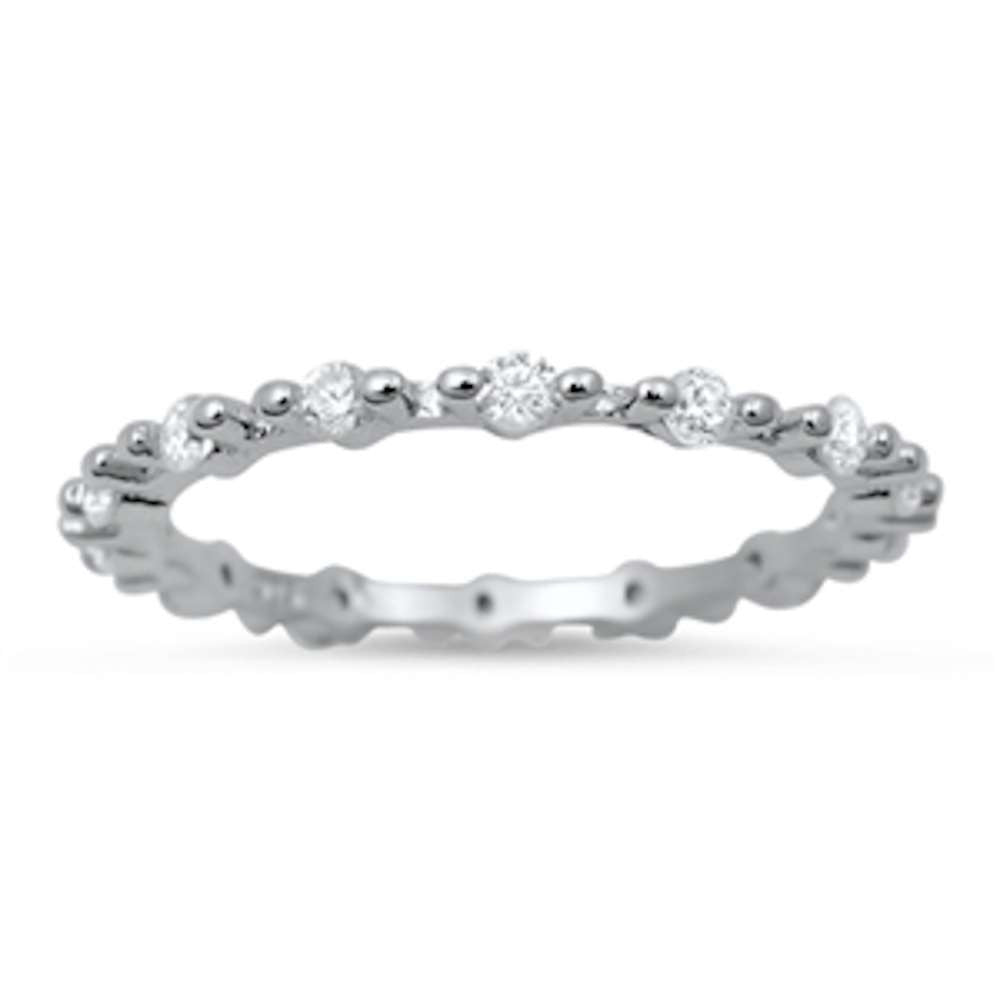 Cute Cz Eternity Band .925 Sterling Silver Ring Sizes 4-10