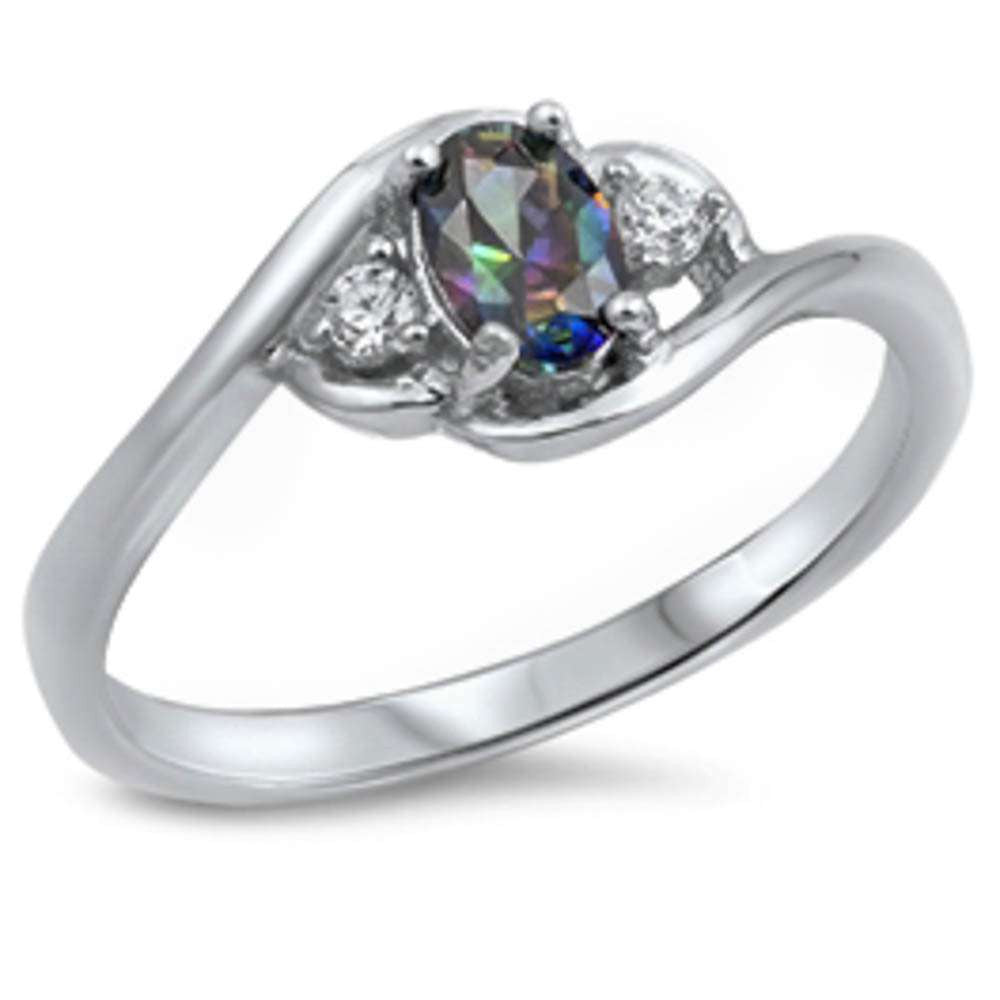 Rainbow Cz & White Cz .925 Sterling Silver Ring Sizes 4-10