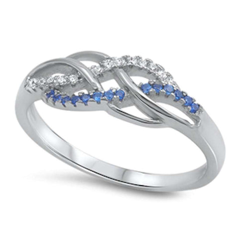 Braided Infinity Cz & Blue Sapphire .925 Sterling Silver Ring Sizes 4-10