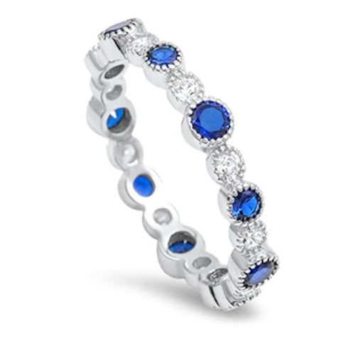 Round Blue Sapphire & Cz Eternity Band .925 Sterling Silver Ring Sizes 4-10