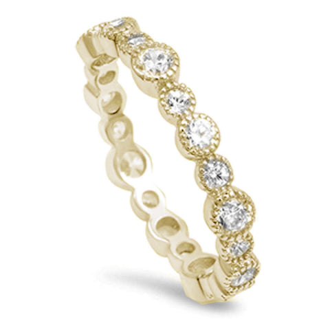 Yellow Gold Plated Round Cz Eternity Band .925 Sterling Silver Ring Sizes 4-10