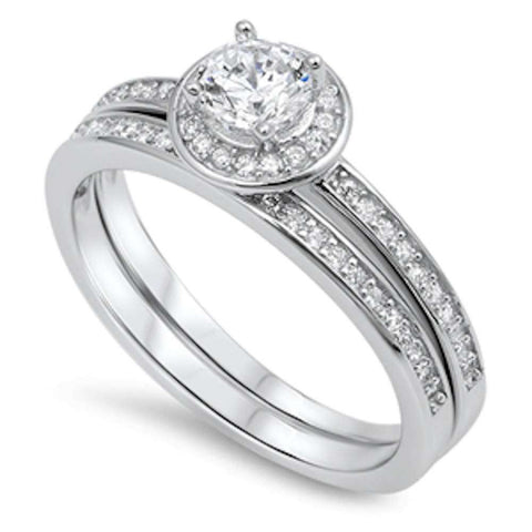 Round Prongs and Bezel Cz Bridal Set .925 Sterling Silver Ring Sizes 5-10