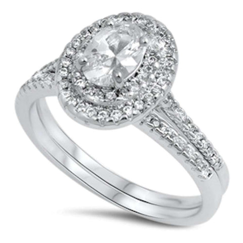 Oval Halo Cz Wedding Set .925 Sterling Silver Ring Sizes 5-10
