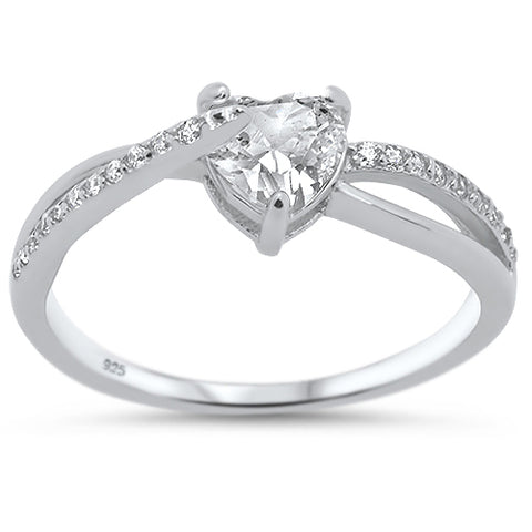 Cubic Zirconia Heart Design .925 Sterling Silver Ring Sizes 5-10