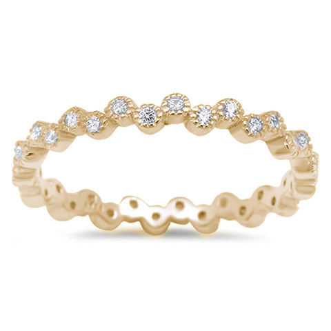 Yellow Gold Plated Eternity Band Cubic Zirconia .925 Sterling Silver Ring Sizes 4-10