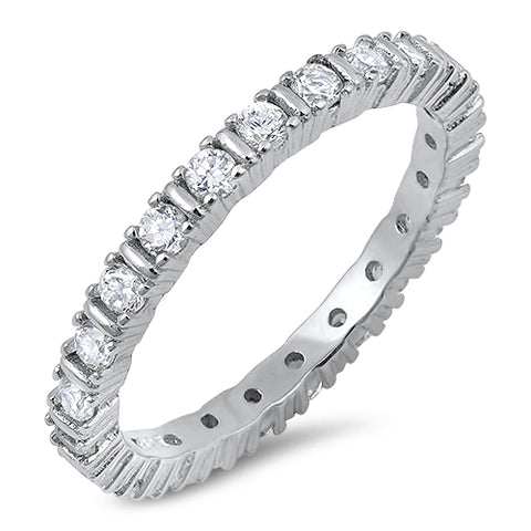 4 Prong Round Cubic Zirconia Eternity Band .925 Sterling Silver Ring Sizes 5-10