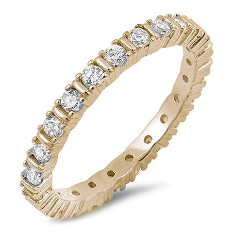 Yellow Gold Plated 4 Prong Round Cubic Zirconia Eternity Band .925 Sterling Silver Ring Sizes 5-10