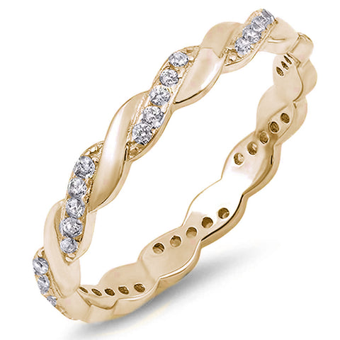 <span>CLOSEOUT!</span> Yellow Gold Plated Twisted Cubic Zirconia Eternity Band .925 Sterling Silver Ring Sizes 4-10