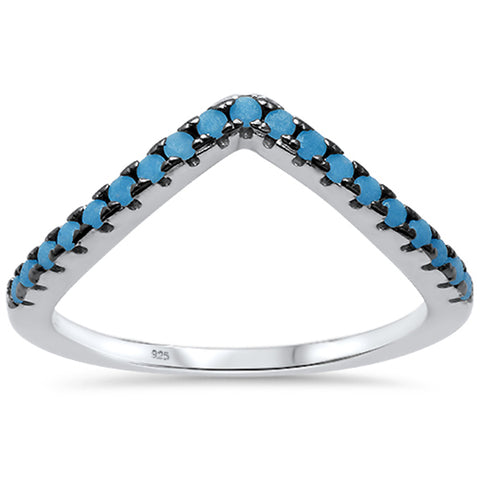 V Shape Simulated Nano Turquoise .925 Sterling Silver Ring Sizes 5-10