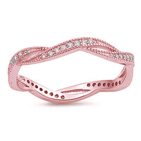 Rose Gold Plated Micro Pave Cubic Zirconia Infinity Style .925 Sterling Silver Ring Sizes 5-10