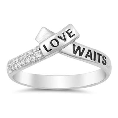 Love Waits Promise Band Purity .925 Sterling Silver Ring Sizes 4-10