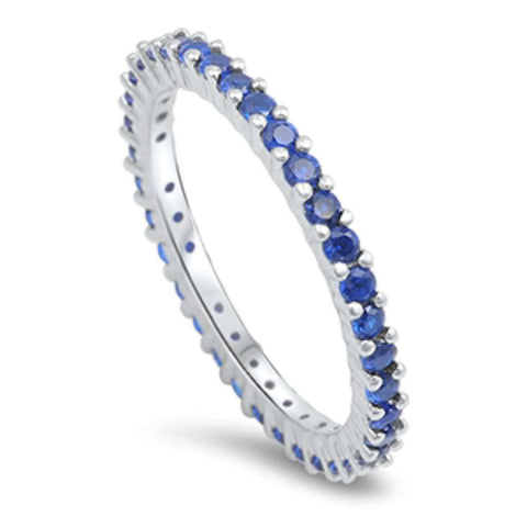 Blue Sapphire Eternity Band .925 Sterling Silver Ring Sizes 5-10