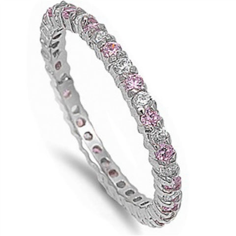 Beautiful Stackable Pink & Clear Cubic Zirconia Eternity Anniversary Band .92