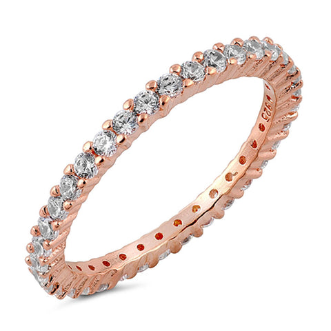 Stackable ETERNITY Rose Gold 925 Sterling Silver Ring SIZES 3-12