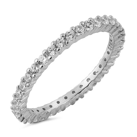 Stackable ETERNITY 925 Sterling Silver Ring SIZES 3-12