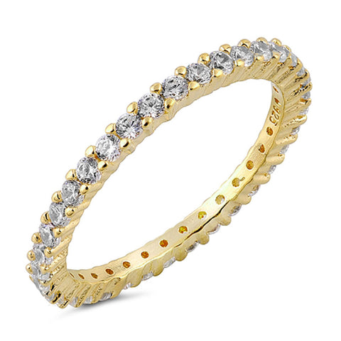 Stackable ETERNITY Yellow Gold 925 Sterling Silver Ring SIZES 3-12