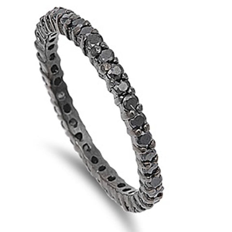 Black Plated Stackable Black Cubic Zirconia .925 Sterling Silver Eternity Band Sizes 4-11