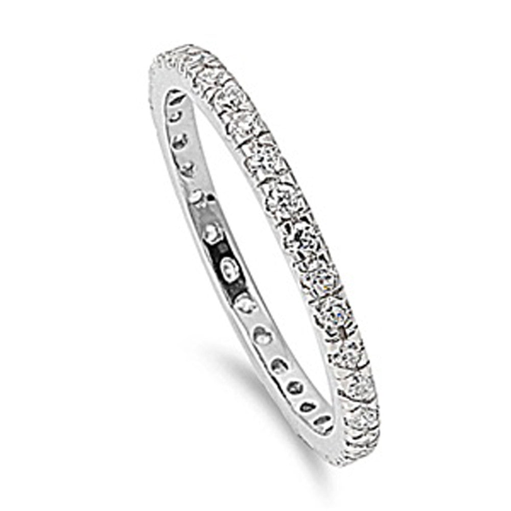 Cubic Zirconia Stackable Eternity Anniversary Band .925 Sterling Silver Ring