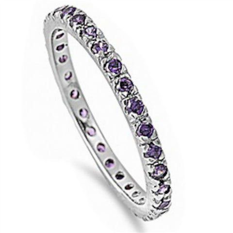Beautiful Stackable Amethyst Cubic Zirconia Eternity Anniversary Band .925 St