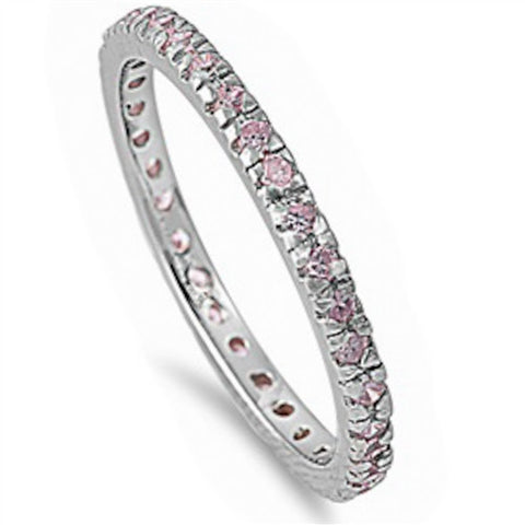 Beautiful Stackable Pink Cubic Zirconia Eternity Anniversary Band .925 Sterli