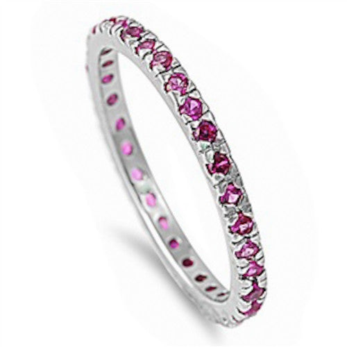 Beautiful Stackable Ruby Cubic Zirconia Eternity Anniversary Band .925 Sterli