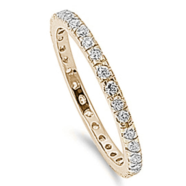 Yellow Gold Plated Stackable Eternity Band .925 Sterling Silver Ring Sizes 5-10