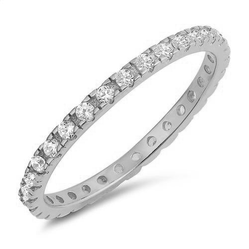 Cubic Zirconia Eternity Band .925 Sterling Silver Ring Sizes 4-10