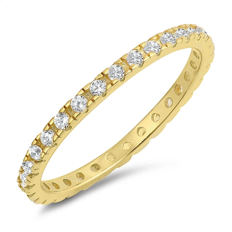 Yellow Gold Plated Cubic Zirconia Eternity Band .925 Sterling Silver Ring Sizes 4-10