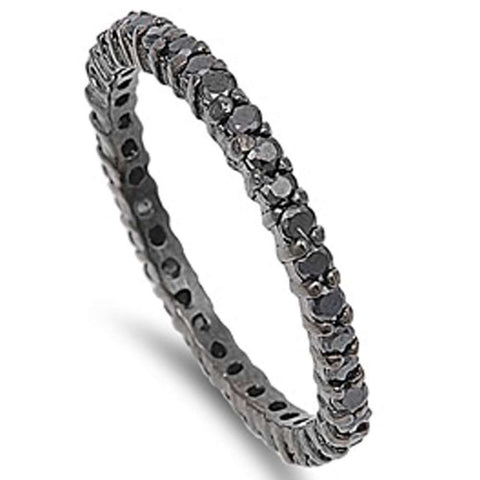 Wholesale Jewelry-Black Plated Cubic Zirconia Stackable Band .925 Sterling Silver Ring SIZES 5-11