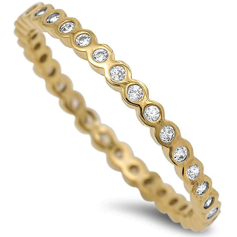 Yellow Gold Plated Cz Eternity Band .925 Sterling Silver Ring Sizes 2-10