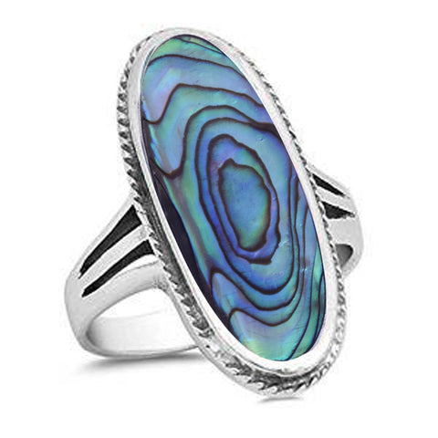 Oval Wide Abalone .925 Sterling Silver Ring Sizes 5-11