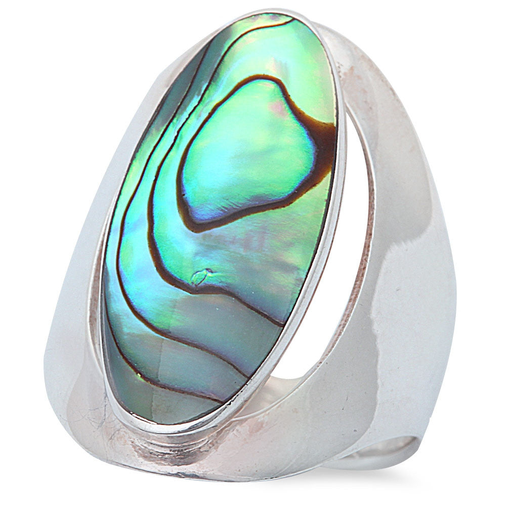 NEW BEST SELLER! ABALONE SHELL .925 Sterling Silver Ring Sizes 6-9