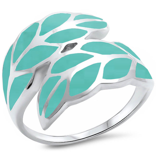 <span>CLOSEOUT!</span> Turquoise Leaf .925 Sterling Silver Ring Sizes 5-12