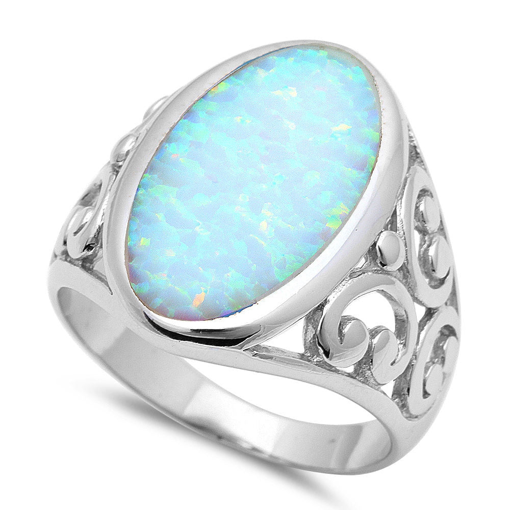 BEST SELLER ELEGANT OVAL SHAPE WHITE FIRE OPAL .925 Sterling Silver Ring