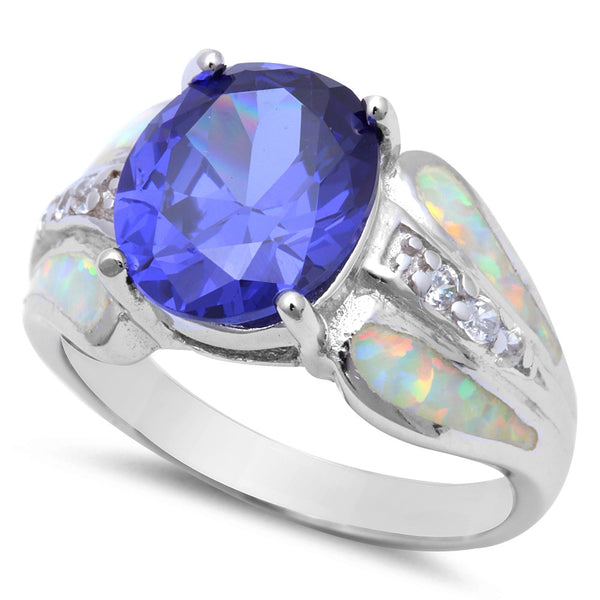 NEW BEST SELLER! BEAUTIFUL TANZANITE, CZ, & WHITE FIRE OPAL ENGAGEMENT .925 S