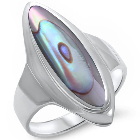 Marquise Abalone Inlay .925 Sterling Silver Ring Sizes 5-10