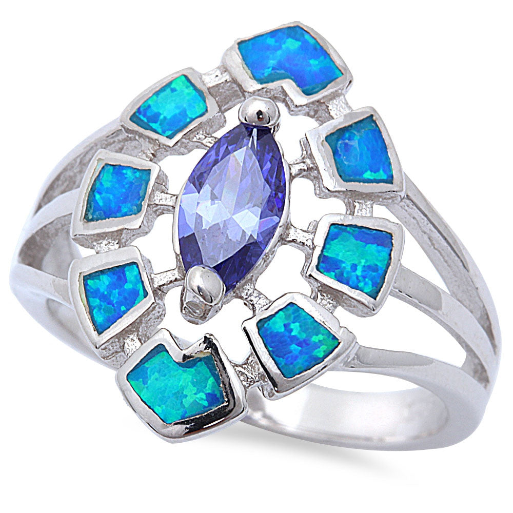 Prong Tanzanite with Blue Opal Inlay .925 Sterling Silver Ring Sizes 5-9
