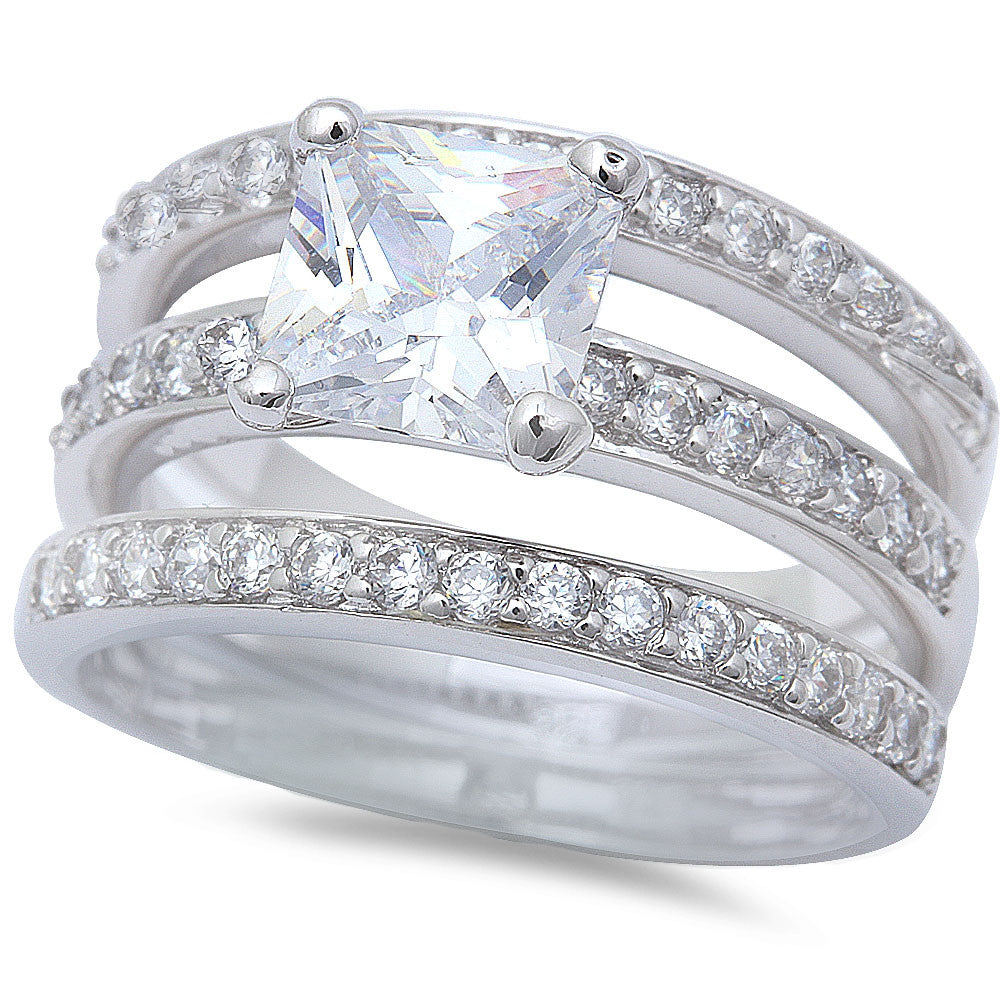 2.5Ct Princess & Round Cz Wedding Set .925 Sterling Silver Ring Sizes 5-9