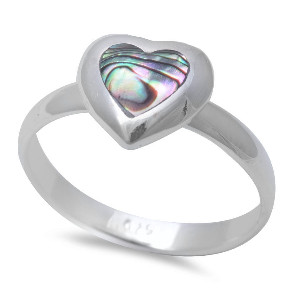 Abalone Shell Heart .925 Sterling Silver Ring SIZES 5-9