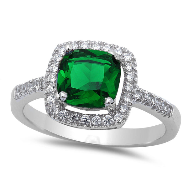Sterling Silver Cushion Cut Emerald Ring with CZ