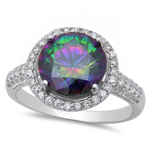 Sterling Silver Halo Rainbow Topaz Ring with Cubic Zirconias