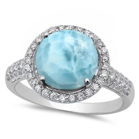 Sterling Silver Halo Natural Larimar Ring .925 Sterling Silver Ring Sizes 6-8