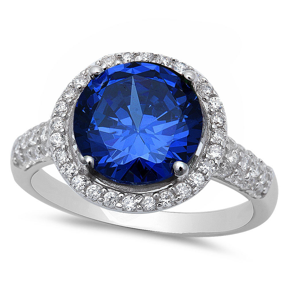 Sterling Silver Halo Blue Sapphire Ring with Cubic Zirconias