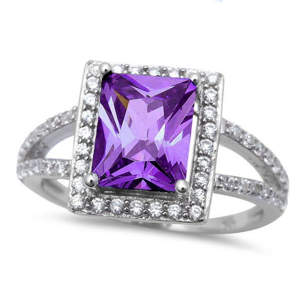<span>CLOSEOUT!</span>Sterling Silver Radiant Cut Amethyst Ring with Cubic Zirconia Sizes 6-10