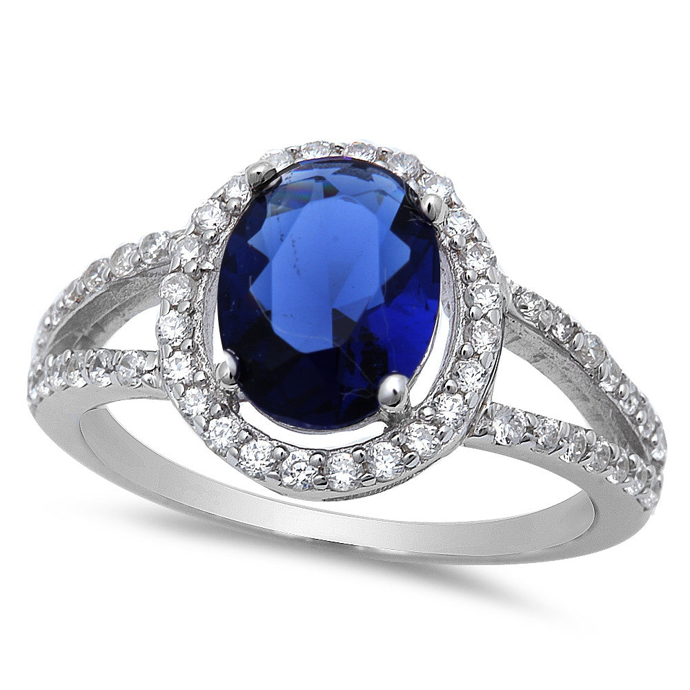 Women's Sterling Silver Blue Sapphire Ring with Cubic Zirconias