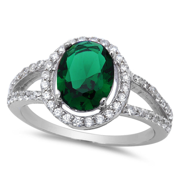 Women's Sterling Silver Emerald Ring with Cubic Zirconias