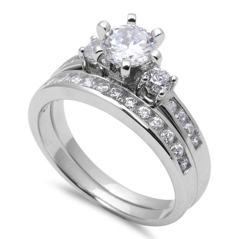 1.25Ct Round Cz Bridal Wedding Set .925 Sterling Silver Ring Sizes 5-9