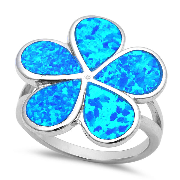Sterling Silver Blue Fire Opal Plumeria Ring Sizes 7-10