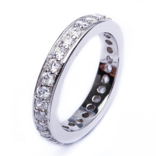 1.5Ct Round Cz Eternity Wedding Band .925 Sterling Silver Ring Sizes 6-9