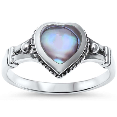 Abalone Heart Celtic .925 Sterling Silver Ring Sizes 5-10